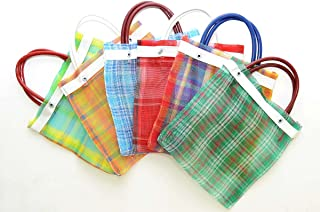 Set of 6, Mini Mexican Tote Favor Bags-7.5 Inches High x 7 Inches Wide. Assorted Colors