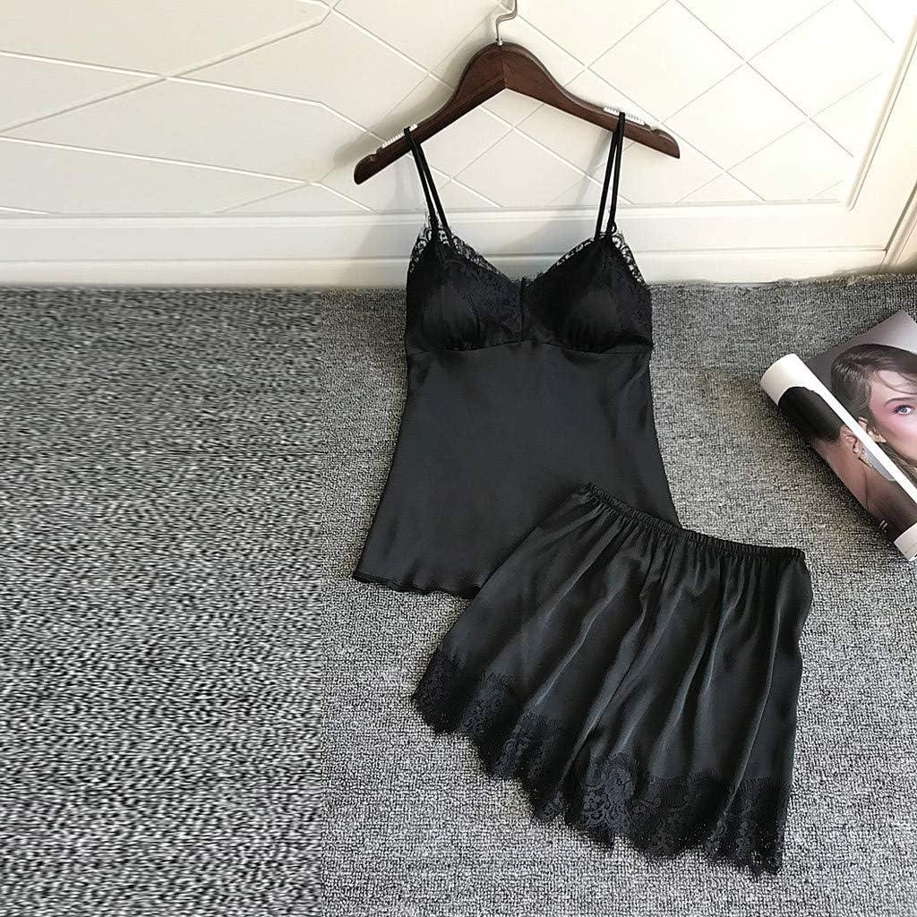 TOTOD Women Pajamas Satin Sleepwear Silk Home Wear Lace Home Clothes Chest Pads Spaghetti Strap Sleep Lounge Lingerie