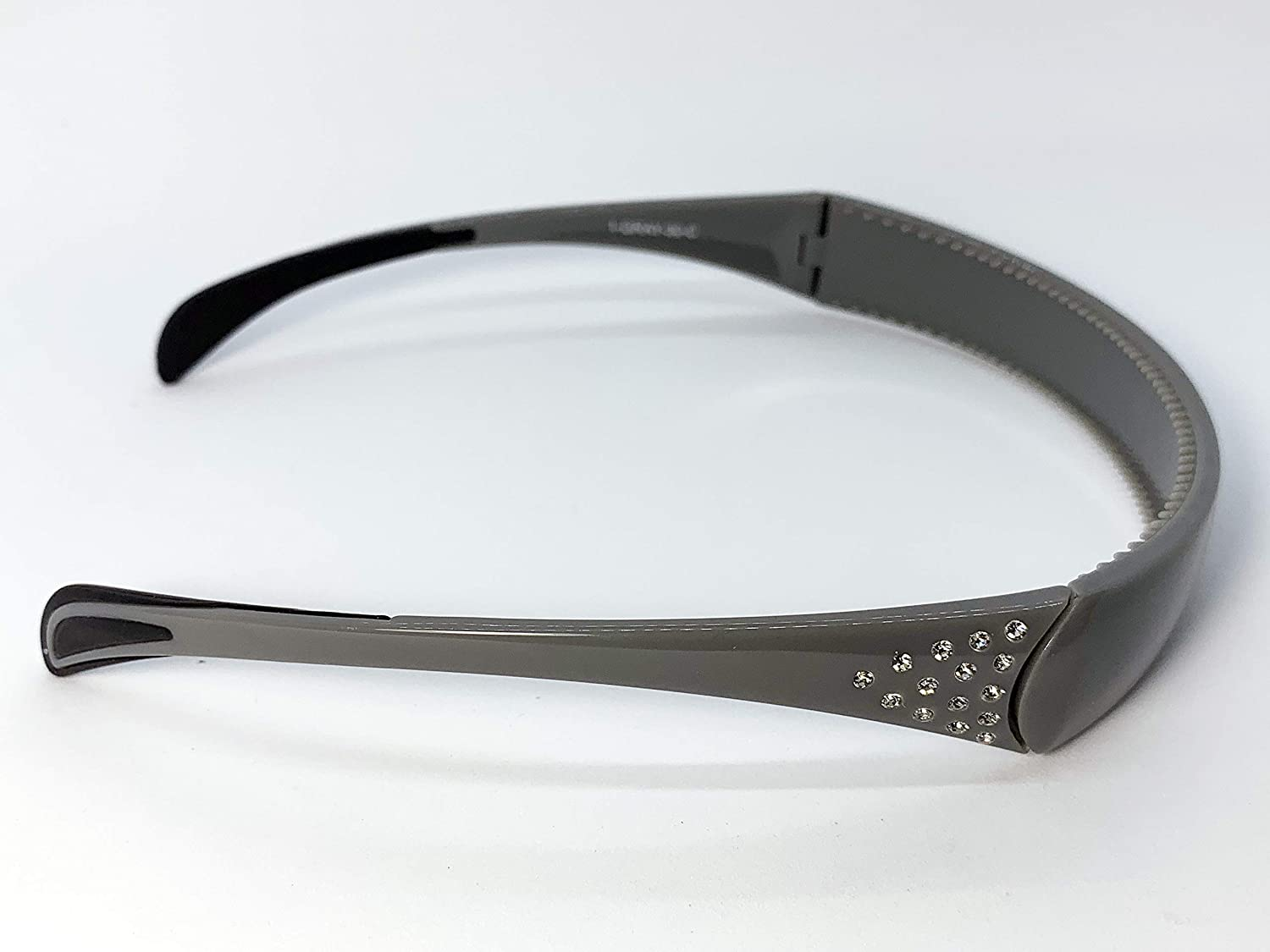 Hinged Headband fits like sunglasses providing lift and style without giving you a headache - by SqHair Band (Gray-Crystals)