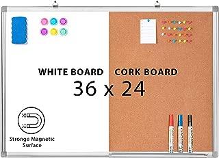 Combination Whiteboard Bulletin Cork Board 36 x 24 Combo White Board Magnetic Dry Erase Board + Corkboard for Homeschooling, Office, Classroom Hanging Message Board Wall Mounted