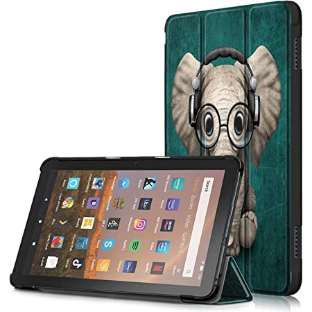 Anvas Shell Case Compatible with All-New Kindle Fire HD 8 Tablet and Fire HD 8 Plus Tablet (10th Generation, 2020 Release), Lightweight Auto Wake / Sleep Slim Cover for Fire 8 HD,Elephant