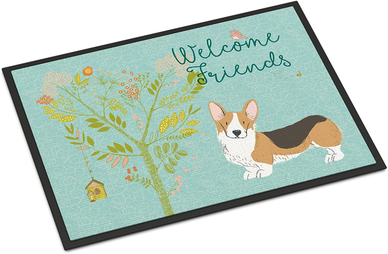 Caroline's Treasures Welcome Friends Pembroke Welsh Corgi Tricolor Doormat, 18hx27w, Multicolor