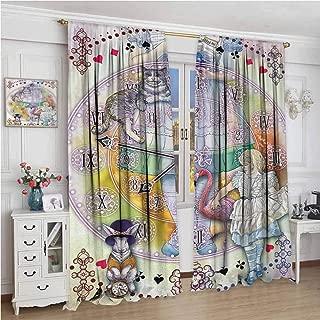 wonderr Cloth Curtains W108 x L84 Inch,Darkening and Thermal Insulating Draperies,Alice in Wonderland,Magical Fantasy World of Adventure Clock Flamingo Cheshire Cat Rabbit Retro,Multi