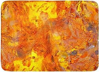 Doormats Bath Rugs Outdoor/Indoor Door Mat Beautiful Bright Colored Amber Yellow Orange of Petrified Resin Inclusions in M...