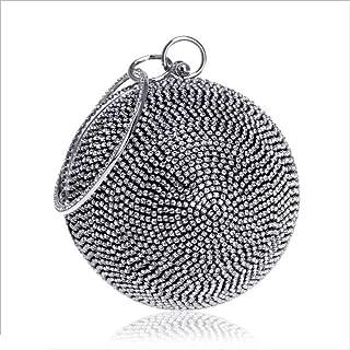 DIEBELLAU New Diamond-Encrusted Dinner Bag Ladies Round Spherical Hand-held Diamond Evening Bag (Color : Black, Size : XS)