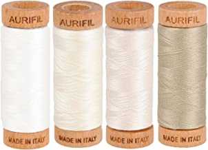 Aurifil 80wt Egyptian Cotton Thread, (4) 306 Yards (280 Meters) Spools, Colors: Natural White (No. 2021), Chalk (No. 2026), Muslin (No. 2311), Stone (No. 2324)