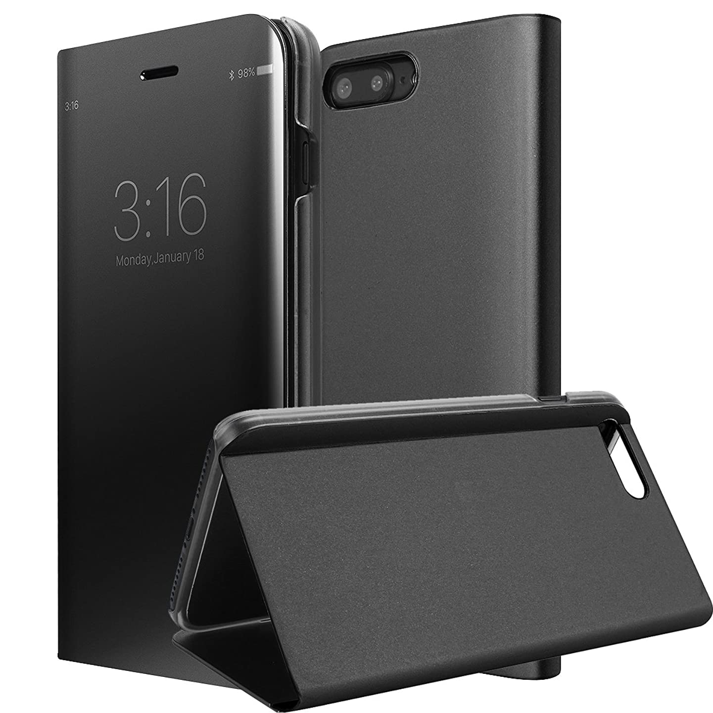 iPhone 7 Plus/8 Plus Case, AICase Luxury Translucent View Window Front Cover Mirror Screen Flip Electroplate Plating Stand Full Body Protective Case for Apple iPhone 7 Plus/8 Plus (Black)