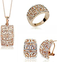 Leather Store Luxury Bride Wedding Jewelry Set Necklace Earrings in Rose Gold Color for Lady