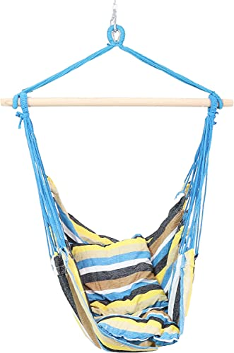 discount Sunnydaze Hanging Rope Hammock Chair Swing - Double Cushion Hanging Chair Seat discount for Backyard & Patio - 265 Pound Capacity - Ocean sale Breeze online sale