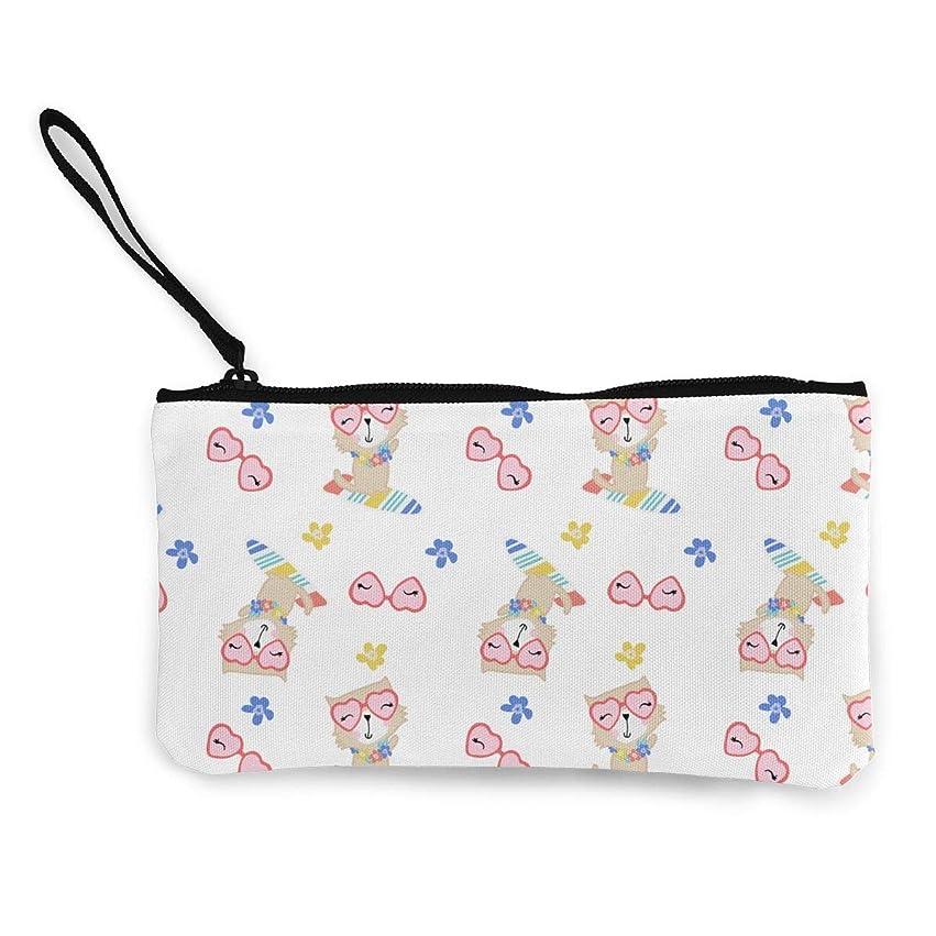 深いビートくつろぐErmiCo レディース 小銭入れ キャンバス財布 可愛い猫パタン 小遣い財布 財布 鍵 小物 充電器 収納 長財布 ファスナー付き 22×12cm