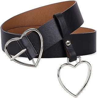 Women Wide PU Leather Belt Heart-shaped Belt Metal Buckle for Women Girls Students Jeans Shorts Ladies Dress