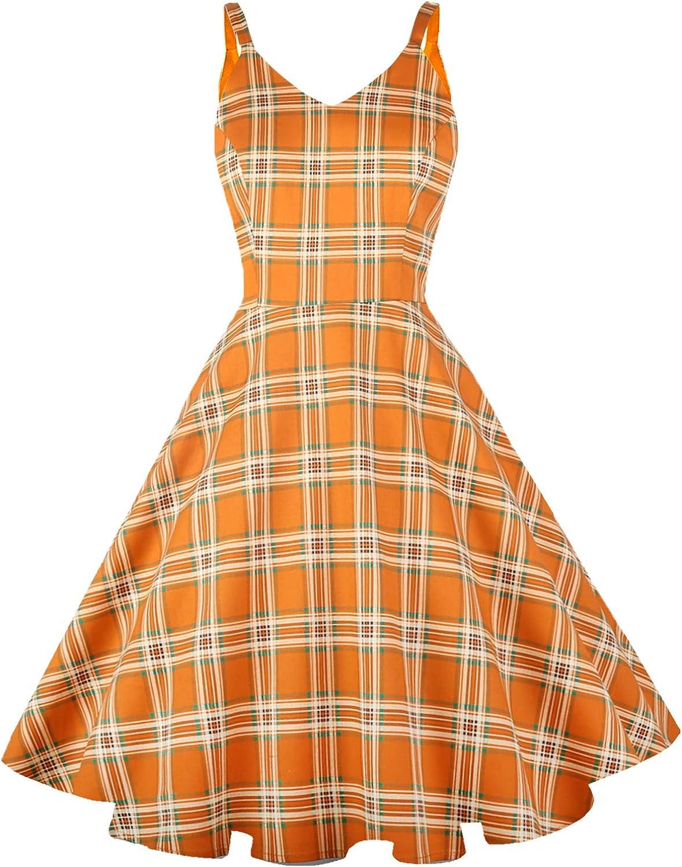 Easy Retro Halloween Costumes – Last Minute Ideas GOOBGS Womens 1950s Retro Vintage Spaghetti Strap Cocktail Swing Dresses with Pockets  AT vintagedancer.com