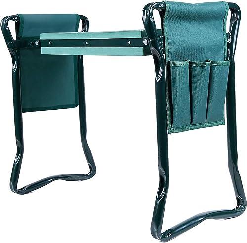 Ohuhu Garden Kneeler and Seat with 2 Tool Pouches, 2-in-1 Foldable Garden Bench Garden Stools, Portable Garden Kneeli...