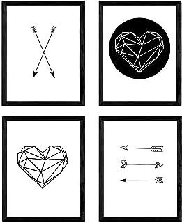 Nacnic Set de 4 láminas para enmarcar de Formas geométricas. Tamaño A4. con Marco