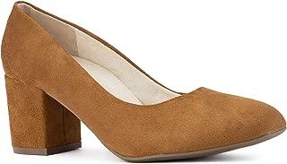 RF ROOM OF FASHION Women's Wide Fit Mary Jane Chunky Heel Dress Pumps (True Wide Width)