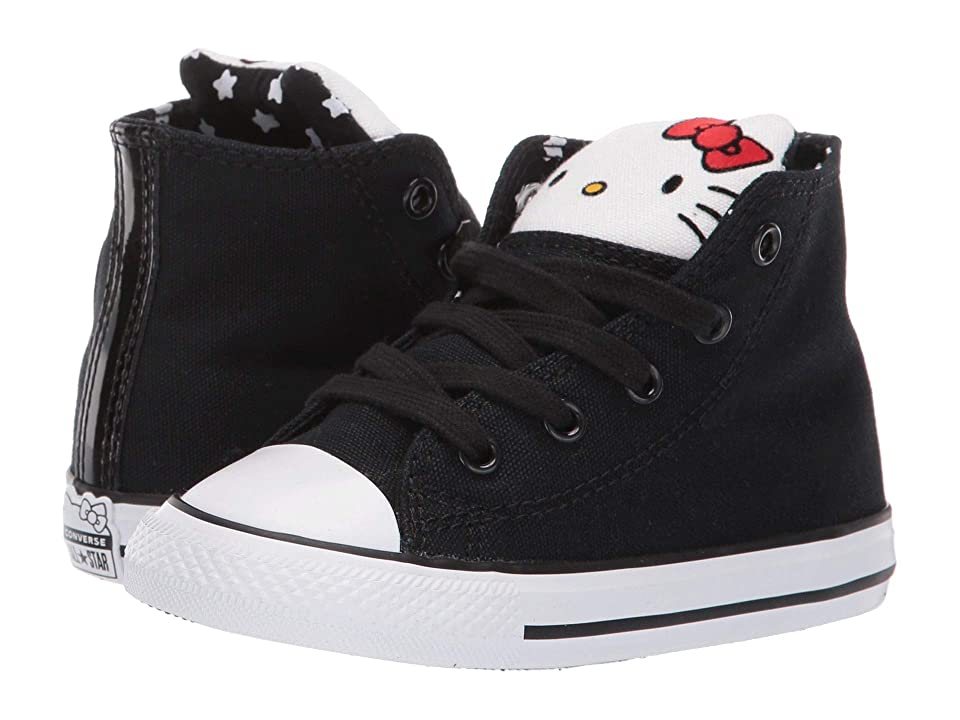 Converse Kids Hello Kitty(r) Chuck Taylor(r) All Star(r) Hi (Infant/Toddler) (Black/Fiery Red/White) Girl