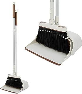 Jekayla ほうき ちりとり 立て式掃除セット 角度・長さ調節可能 回転式 99-137cm長柄 超軽量 櫛歯デザイン 自立式 コンパクト 収納簡単 多機能 室内·屋外(ブラウン)