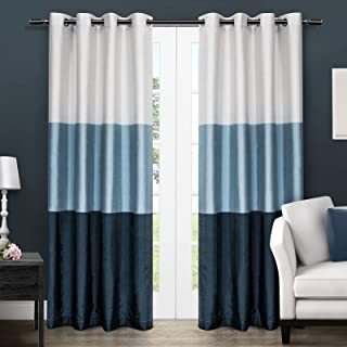 Exclusive Home Curtains Chateau Striped Faux Silk Window Curtain Panel Pair with Grommet Top, 54x108, Indigo 54x84 EH7951-...