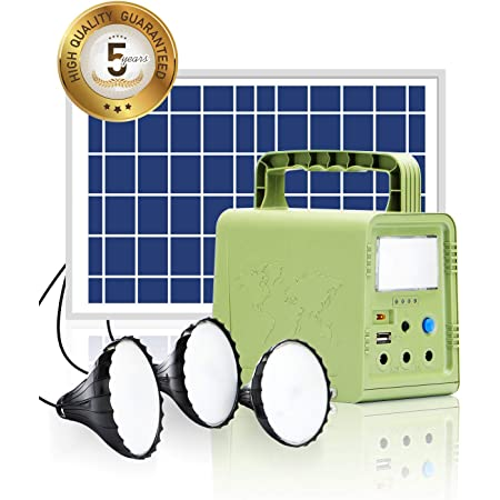 WAWUI Portable Solar Generator 84Wh with Solar Panel & Flashlights, Solar Powered Generator Kit for Emergency Backup Power, Camping lights with Battery, USB DC Outlets, for Travel Fishing Hunting
