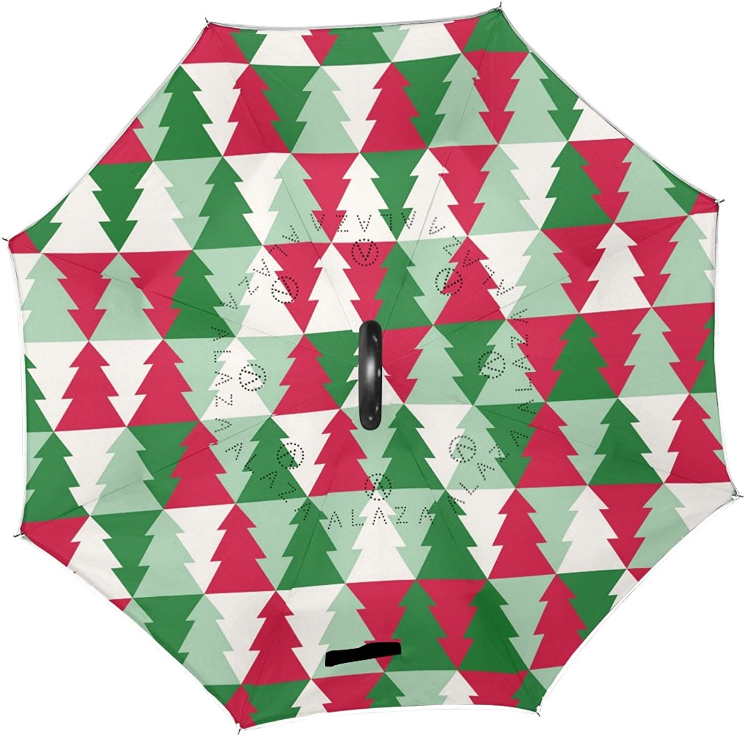 ALAZA Merry Christmas Tree Pattern Ingreened Umbrella Double Layer Windproof Reverse Folding Umbrella for Car With C-Shape Handle