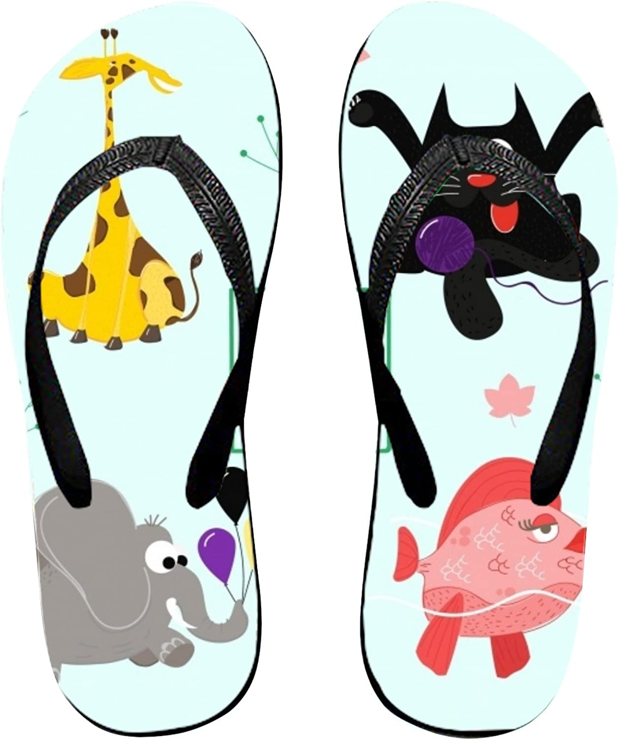 Huangyan Tropical Pattern with Flamingos and Pineapples Womens Flip Flops, Funny Thong Sandals, Beach Sandals