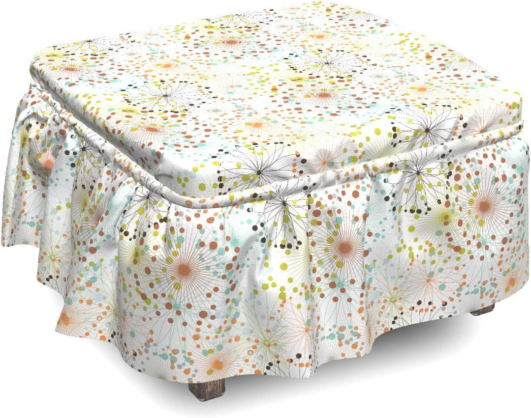 Japan's largest assortment Ambesonne Abstract Ottoman Cover Lines San Jose Mall Vibrant with 2 Dot Piec