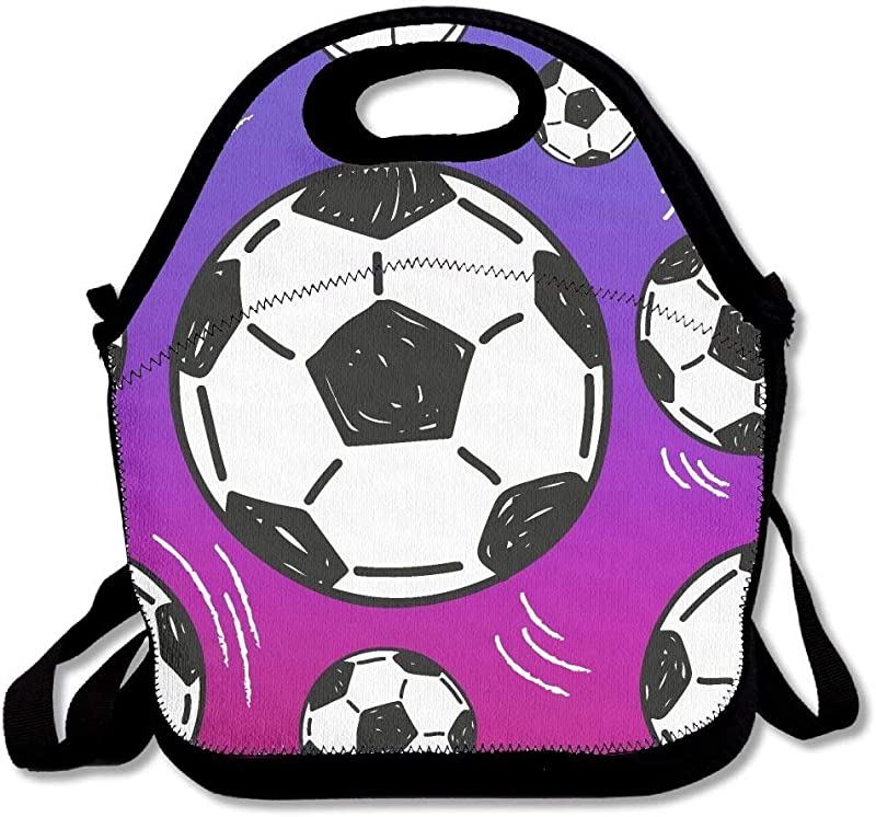 Amuseds Soccer Ball Cool Purple Lunch Bags Insulated Travel Picnic Lunchbox Tote Handbag With Shoulder Strap For Women Teens Girls Kids Adults