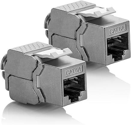 deleyCON 2X Módulo Keystone Cat 6a Jack STP Completamente Blindado Toma RJ45 Instalación Montaje Snap-IN 500Mhz 10GBit/s