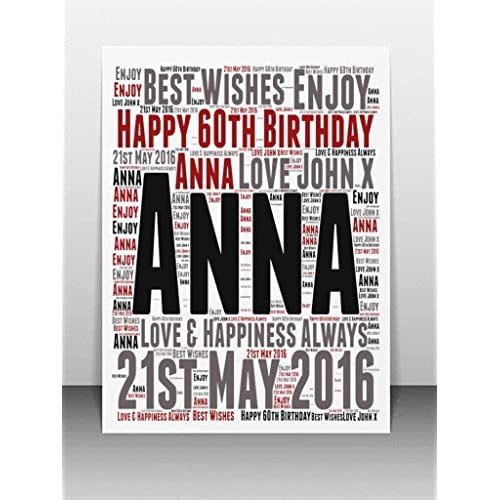 Personalised 60th Birthday Word Art Greeting Card Details Required PLEASE REFER TO IMAGE SECTION