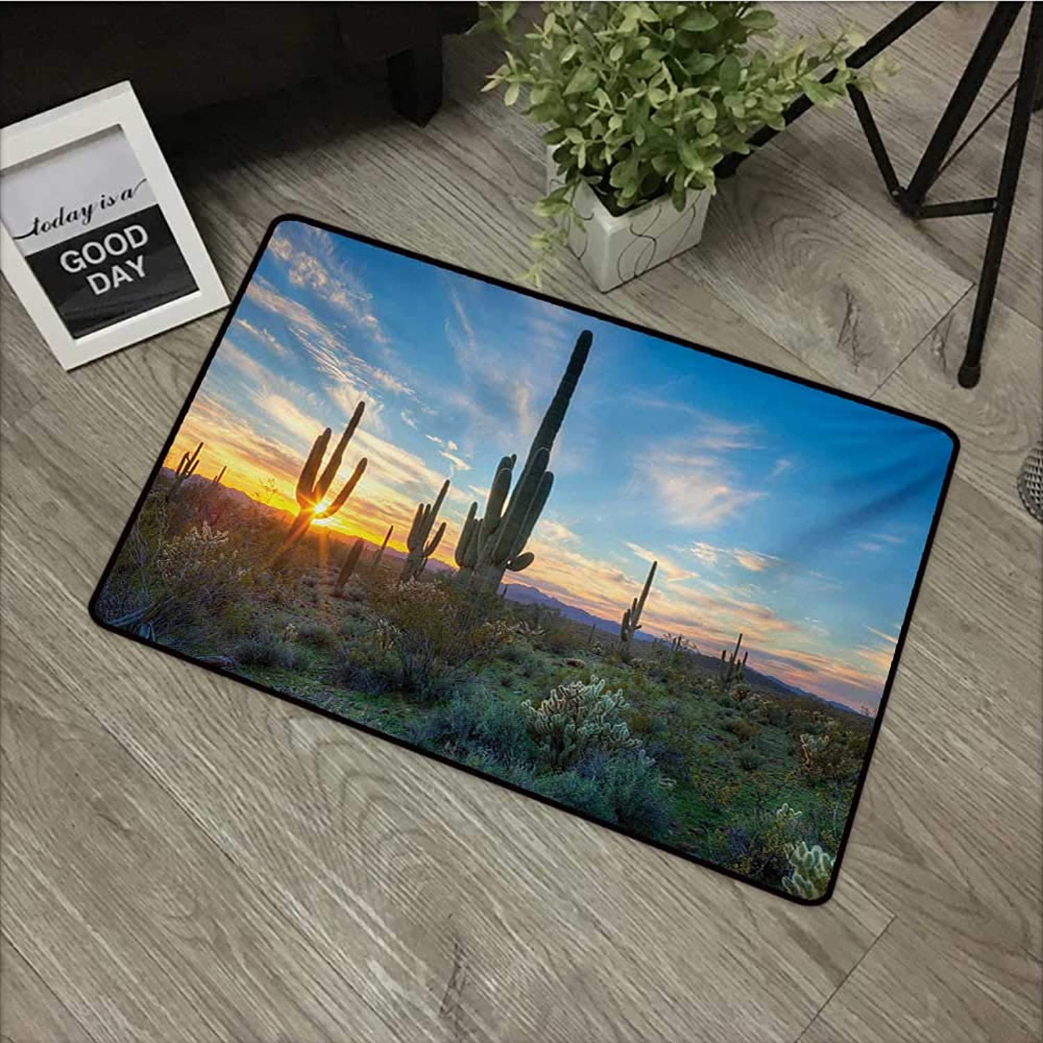 Interior mat W35 x L59 INCH Saguaro,Sun is Setting Between Cactus Plants with Spines Magical Noon Landscape Wild Design,Green bluee Easy to Clean, no Deformation, no Fading Non-Slip Door Mat Carpet