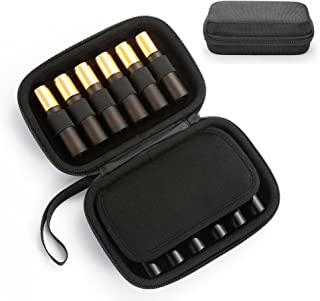 Portable Essential Oil Carrying Case - Hard Shell Case Holds 12 Bottles (Can hold 5ml, 10ml, 10ml Rollers) Travel Size Essential Oils Bag Organizer Perfect for Young Living, doTERRA, and more -Black