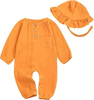 Infant Newborn Baby Girl Boys Clothes Cotton and Linen Solid Bodysuit+Hat Toddler Pocket Fall Outfit