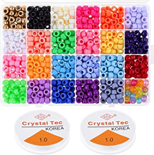 Pony Beads for Bracelets Making, Cridoz 24 Colors Plastic Pony Beads Bracelet Beads for Hair Braids and Jewelry Bracelets Making