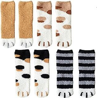 4 Pairs Winter Cat Claws Cute Thick Warm Sleep Floor Socks,Cat Paw Slipper Socks for Girls,Women