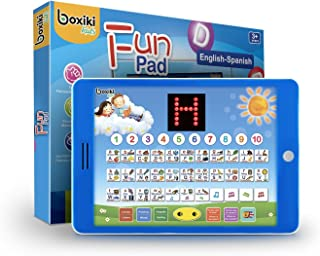 """Spanish-English Tablet / Bilingual Educational Toy with LCD Screen Display. Touch-and-Teach Pad for Children. Learning Spanish and English. ABC Games, Spelling, """"Where is?"""" Kids Game, Fun Melodies"""
