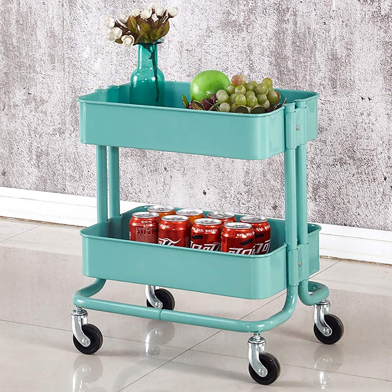 2-Layer Carbon Steel Storage cart, Bathroom, Rolling cart, Kitchen Rack, Multi-Purpose (color   B)