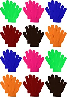 12 Pairs Kids Warm Magic Gloves Teens Winter Stretchy...