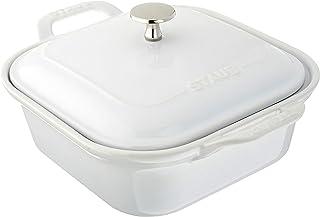 STAUB Ceramics Square Covered Baking Dish, 9x9-inch, White