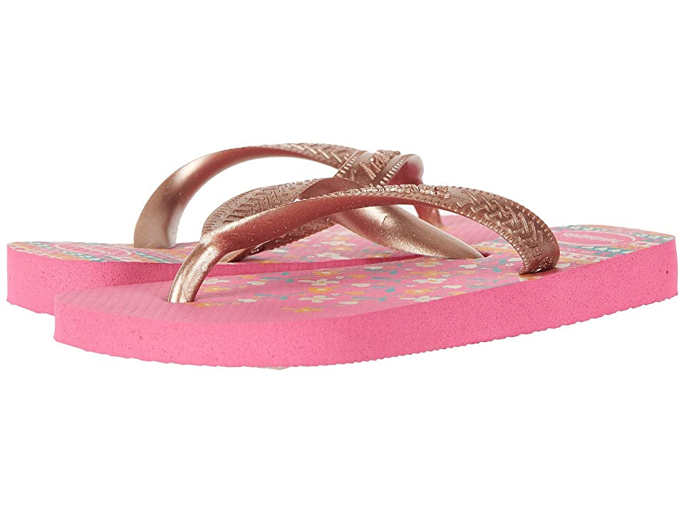 Havaianas Kids Flores Sandals (Toddler/Little Kid/Big Kid) (Shocking Pink/Rose Gold) Girls Shoes