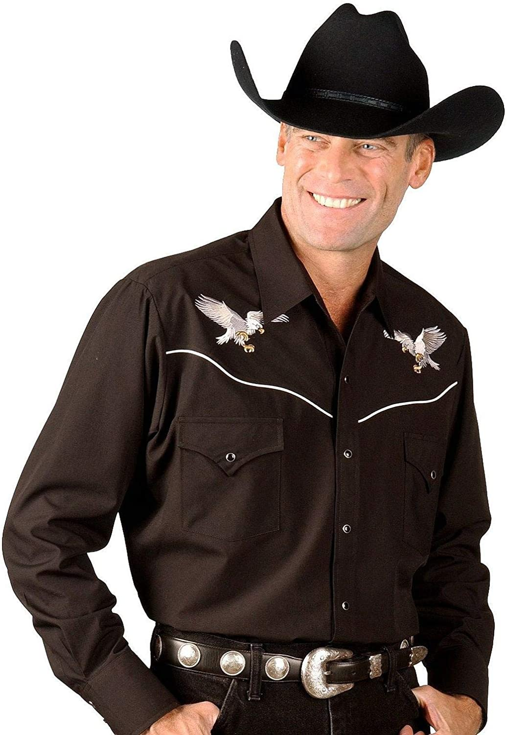 ELY gift CATTLEMAN Import Men's Long Sleeve with Shirt Western Embroid Eagle