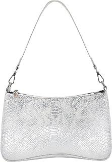 OUTTUO Umhängetasche, Damen Schultertasche, Retro Achsel Tasche,Damen Vintage Schulter Handtasche Kunstleder-Silber
