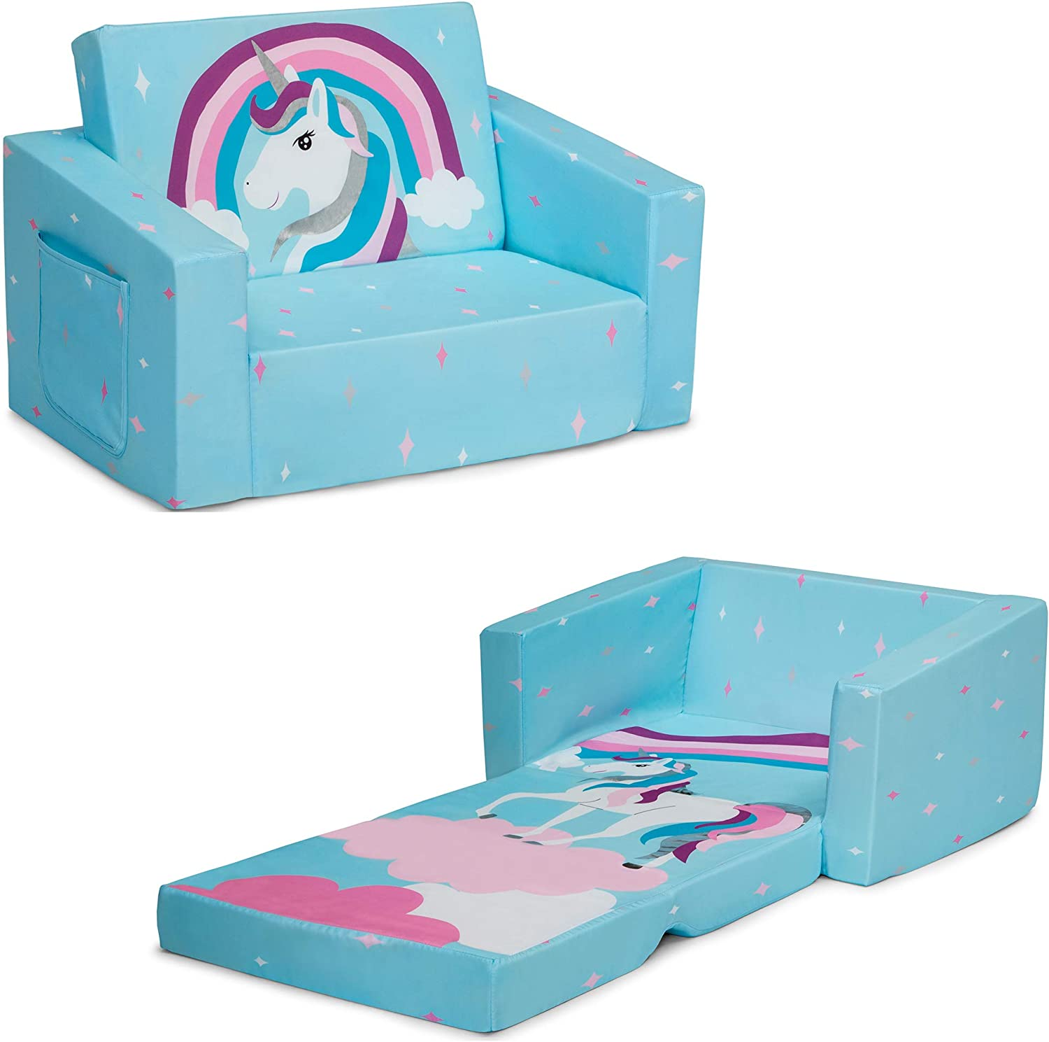 Delta Children Cozee Flip-Out Chair - 2-in-1 Convertible Chair to Lounger for Kids, Blue Unicorn