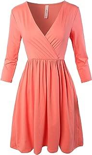 A2Y Women's Buttery Soft Pocket 3/4 Sleeve Wrap Deep V-Neck Surplice Dress