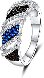 Uloveido Women Black and Blue Knot Infinity Promise Ring for Girls with Twist Cross Crystal Pave Size 6 7 8 9 Y360