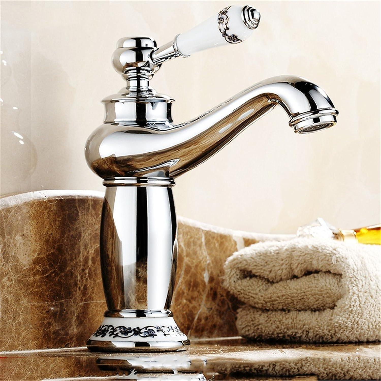 Hlluya Professional Sink Mixer Tap Kitchen Faucet Retro faucet full copper antique faucet basin mixer bathroom sink faucet, Chrome bluee-low