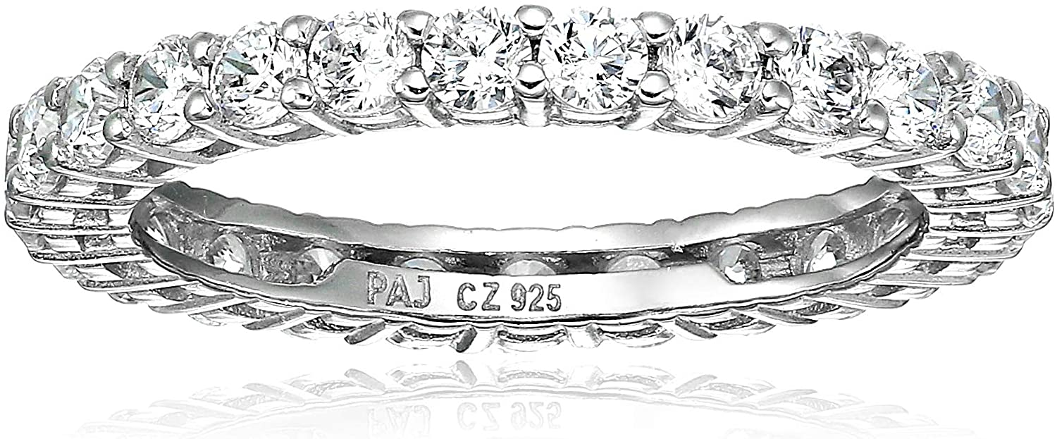 Amazon Essentials Plated Direct sale of manufacturer Dedication Sterling Silver Cubic Zirconi Round-Cut