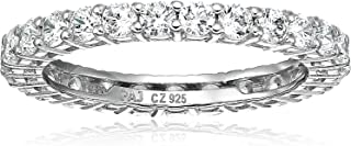 Amazon Essentials Plated Sterling Silver Round-Cut Cubic Zirconia All-Around Band Ring