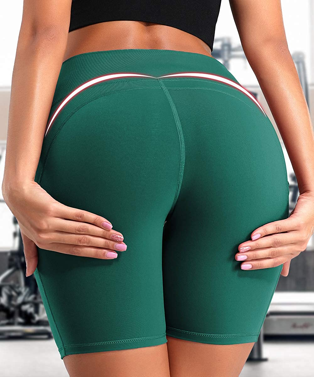 Womens High Waist Workout Yoga Shorts Butt Lift Tummy Control Shorts