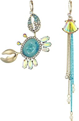 Betsey Johnson - Crab and Seashell Mismatch Earrings