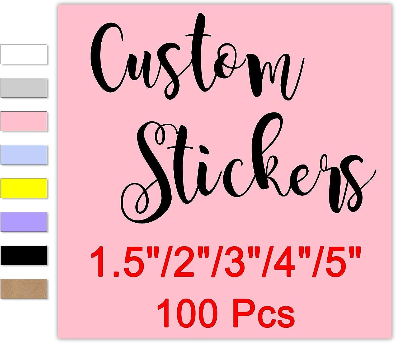 100 Custom 今だけスーパーセール限定 Square Stickers Personalized 宅配便送料無料 with 4